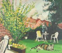 Titel: Chats au jardin, Kunstenaar: Van Soens, Eric