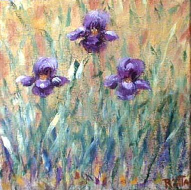 Titel: Purple iris on orange, Kunstenaar: Kauppinen, Riitta
