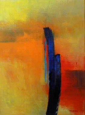 Titre: Blauer Baum in oranger Landschaft, Artiste: Loher, Angelika