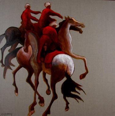 Titel: Trois cavaliers rouges, Kunstenaar: Dehareng, Marc