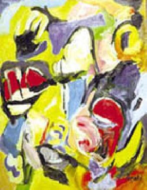 Titel: Figures with red boat, Kunstenaar: Arati , Nicolas