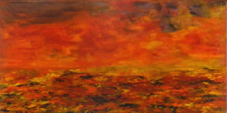 Titel: La mer en feu, Kunstenaar: Geneviève Goulley