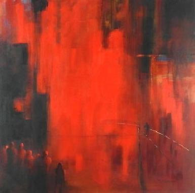 Titre: Funambule rouge 2, Artiste: d'Andrimont, Françoise