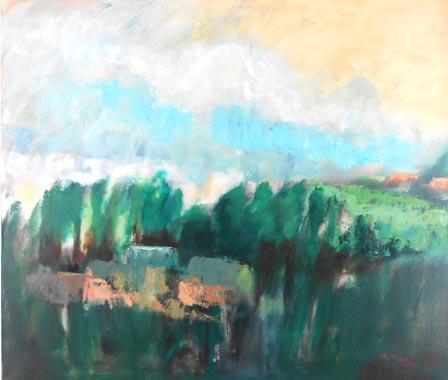 Titel: Ferme au bois, Kunstenaar: Madeleine Remy