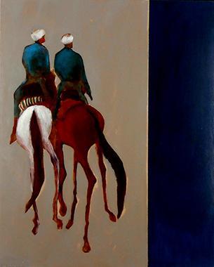 Titel: Deux cavaliers bleus, Kunstenaar: Dehareng, Marc