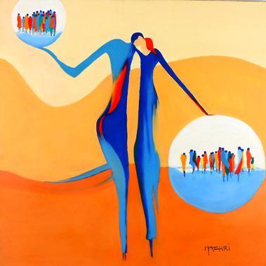 Titel: Dans leur bulles, Kunstenaar: Machri, Marie-Christine