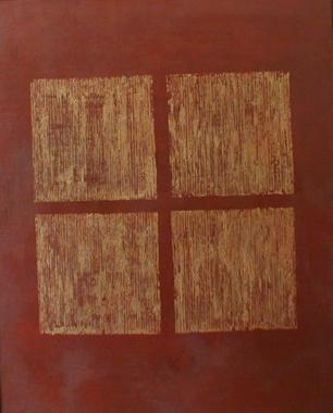 Titel: Gold squares on Sienna, Kunstenaar: Aron, Charli