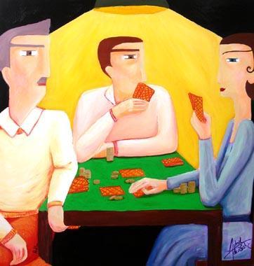 Titel: La partie de poker, Kunstenaar: de Lastic-Brucker, Astrid