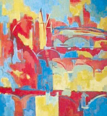Titel: Prague les cinq ponts, Kunstenaar: Margit Huy
