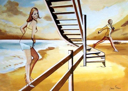 Titre: Deux femmes à l'escalier