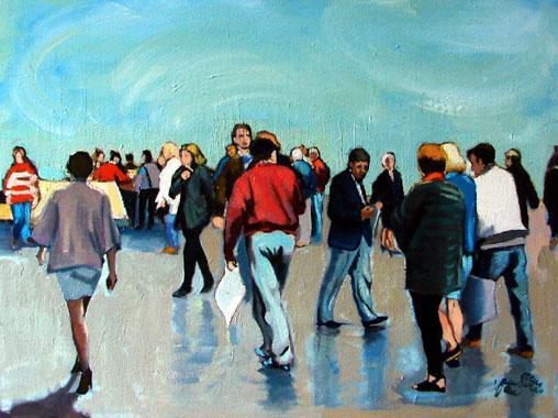 Titel: Les promeneurs à Ostende, Kunstenaar: Eric Van Soens
